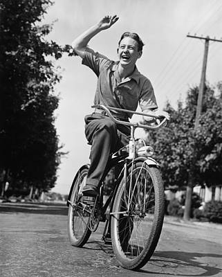 Man Riding Bicycle, Waving, (b&w) Art Print by George Marks