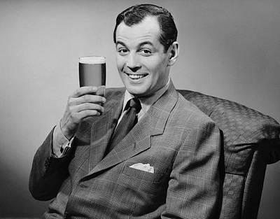 Man Sitting & Having A Beer Art Print by George Marks
