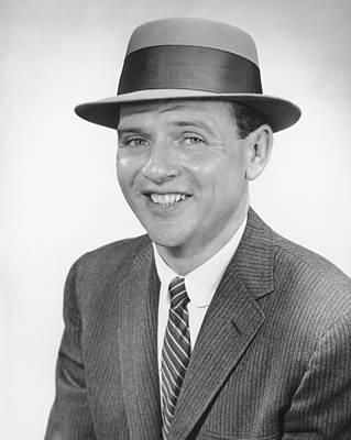 Man Wearing Hat, Posing In Studio, (b&w), Portrait Art Print by George Marks