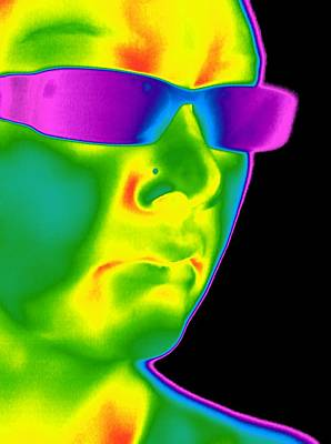 Coloured Glass Photograph - Man Wearing Sunglasses, Thermogram by Tony Mcconnell