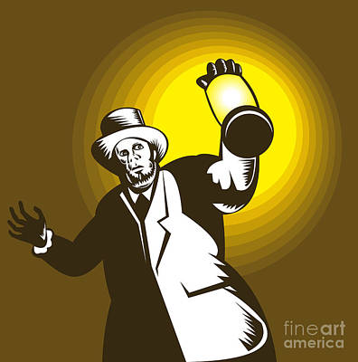 Lantern Digital Art - Man Wearing Top Hat And Holding Lantern by Aloysius Patrimonio