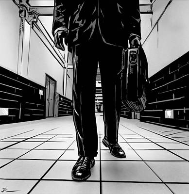 Corridor Drawing - Man With Briefcase by Giuseppe Cristiano