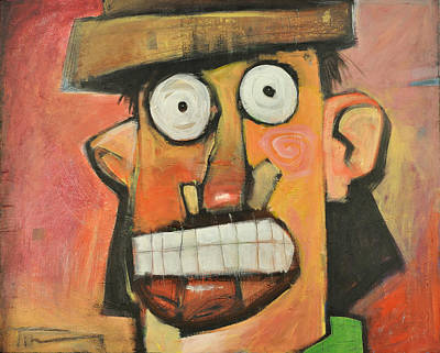 Lips Painting - Man With Terracotta Hat And Green Shirt by Tim Nyberg