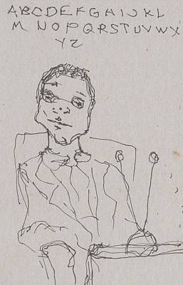Primitive Drawing - Man With Tv by Catherine Carr