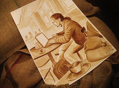 Man Working - Coffee Art Art Print by Dirceu Veiga