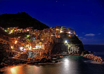 Y120817 Photograph - Manarola Italy, Liguria, Cinque Terre At Night by Photo Art by Mandy