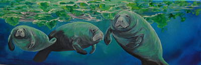 Painting - Manatees by Patti Lane