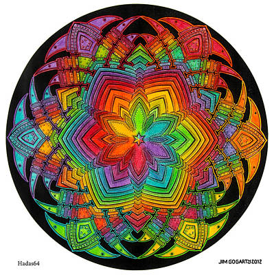 Chakra Rainbow Drawing - Mandala 40 Drawing Rainbow 1 by Jim Gogarty