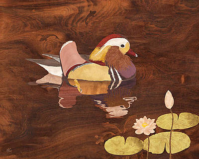 Marquetry Mixed Media - Mandarin Duck by Vincent Doan