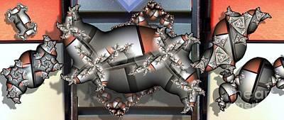 Mandelbrot Meets Mondrian Art Print by Ron Bissett