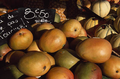 Cantaloupe Photograph - Mangoes And Melons Priced In Euros by David Evans