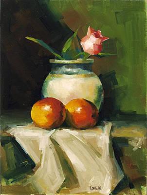 Mangoes And Rose Art Print by Pepe Romero