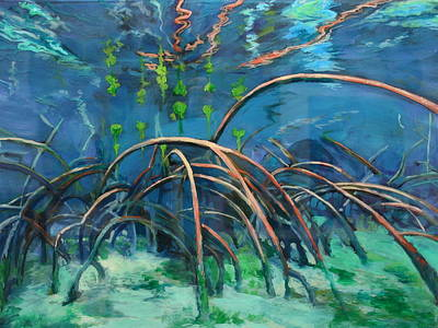 Mangrove Forest Painting - Mangrove Roots  by Scout Cuomo