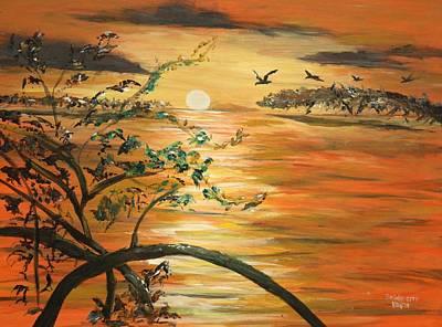 Pelikan Painting - Mangroves Of Florida Keys by Bernadette Krupa