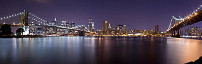 Photograph - Manhattan At Night Panorama 1 by Val Black Russian Tourchin