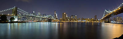 Photograph - Manhattan At Night Panorama 2 by Val Black Russian Tourchin