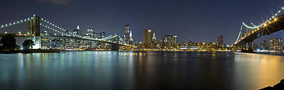 Photograph - Manhattan At Night Panorama 3 by Val Black Russian Tourchin