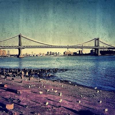 Skylines Photograph - Manhattan Bridge - New York by Joel Lopez