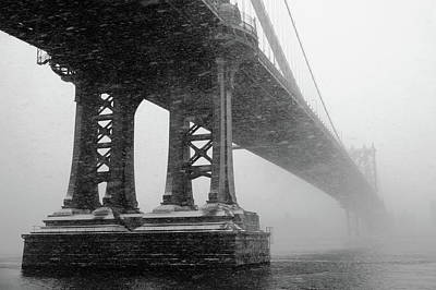 Manhattan Bridge Durning Winter Snow Storm Art Print by Anthony Pitch