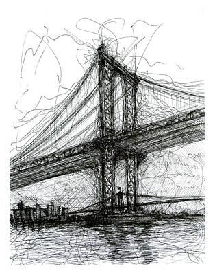 Brooklyn Bridge Drawing - Manhattan Bridge From Rutgers Street Nyc by Brendan Higgins