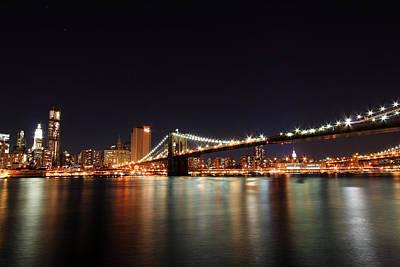 Manhattan Nightscape With Brooklyn Bridge Art Print by Kean Poh Chua