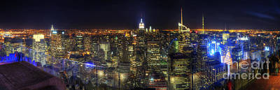 Photograph - Manhattan Nite Lites Panorama by Yhun Suarez