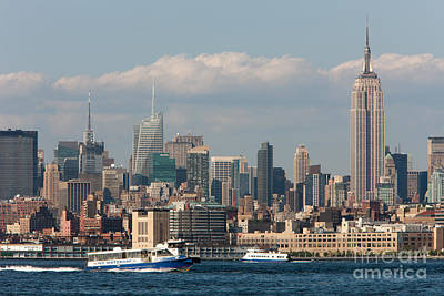 Freedom Tower Photograph - Manhattan Skyline And Ferry Traffic by Clarence Holmes
