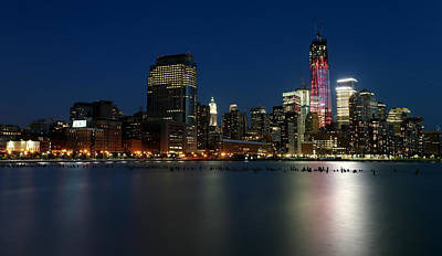Hudson River Photograph - Manhattan Skyline At Night by Larry Marshall