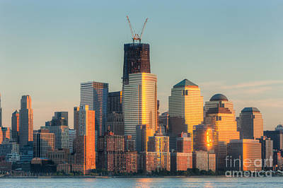 1 Wtc Photograph - Manhattan Sunset Reflections by Clarence Holmes