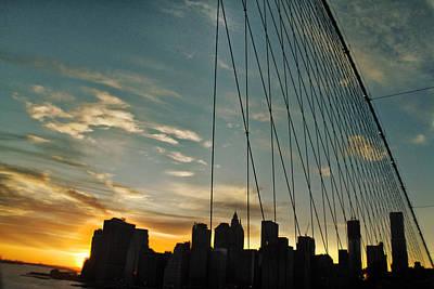 Manhattan Through The Bridge Art Print by Alex AG