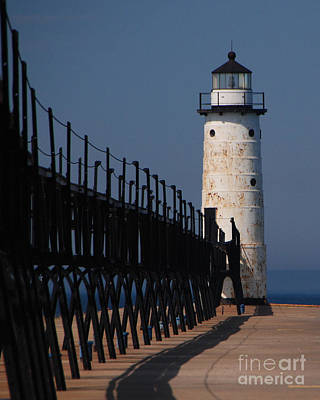 Photograph - Manistee Harbor Lighthouse And Cat Walk by Grace Grogan
