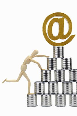 Mannequin Climbing Tin Cans Pyramid Art Print by Sami Sarkis