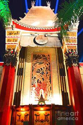 Digital Art - Manns Chinese Exterior Great Movie Ride Hollywood Studios Walt Disney World Prints Film Grain by Shawn O'Brien