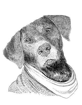 Drawing - Man's Best Friend by Jack Pumphrey