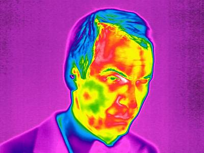 Thermographic Photograph - Man's Face, Thermogram by Tony Mcconnell