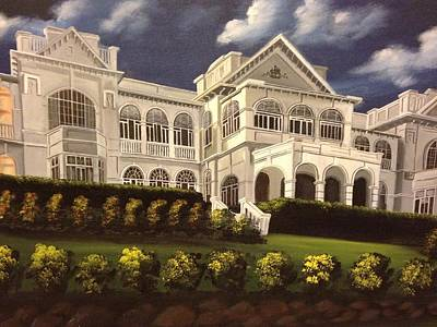 Verandah Painting - Mansion Fiji President by Biren
