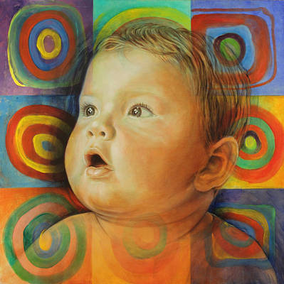 New Born Painting - Manuel's Portrait by Karina Llergo