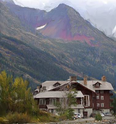 Digital Art - Many Glacier Hotel by Jim Pavelle