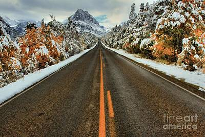 Winter Roads Photograph - Many Glacier Road by Adam Jewell