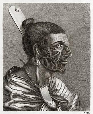 Maori Wall Art - Photograph - Maori Man, Profile, 18th Century by Middle Temple Library