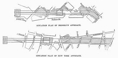 Map: Brooklyn Bridge Print by Granger