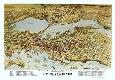 British Columbia Mixed Media - Map City Of Vancouver by Pg Reproductions