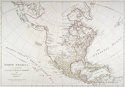 Border Drawing - Map Depicting North America As Divided By The European Powers by American School