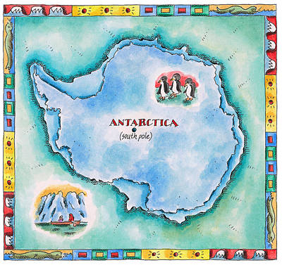 Map Of Antarctica Art Print by Jennifer Thermes