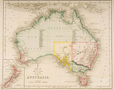 Old Map Painting - Map Of Australia And New Zealand by J Archer