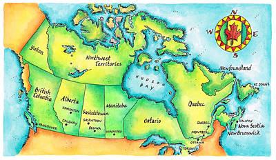 Newfoundland Digital Art - Map Of Canada by Jennifer Thermes