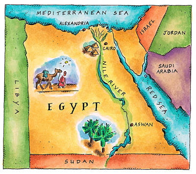 Nomadic Digital Art - Map Of Egypt by Jennifer Thermes