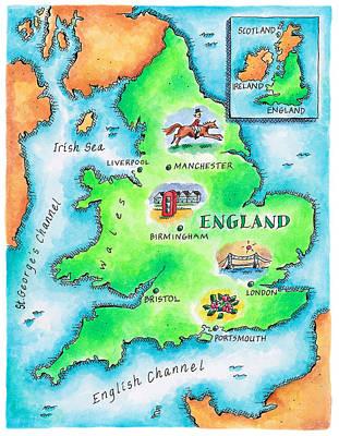 Wales Digital Art - Map Of England by Jennifer Thermes