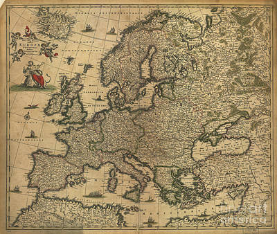Zeus Photograph - Map Of Europe, 1700 by Photo Researchers