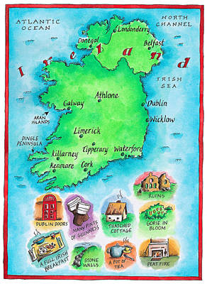 Images Of Ireland Digital Art - Map Of Ireland by Jennifer Thermes